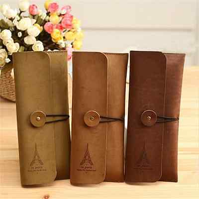 Retro Paris Suede Leather Pencil Pen Case Cosmetic Makeup Brush Pouch Bag Purse