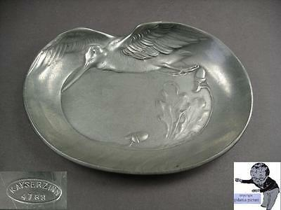 #  Kayserzinn pewter ash tray with flying snipe model 4783 from 1907  #