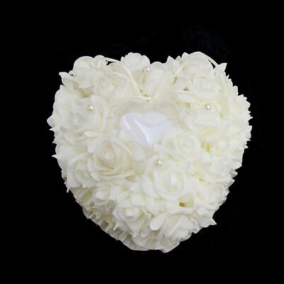 White Rose Wedding Heart Ring Case Jewelry Stand Holder Pillow