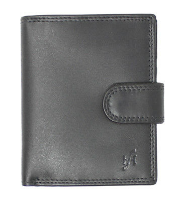 Starhide Rfid Blocking Real Leather Wallet With Secure Zip Coin Purse 1080 Black