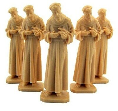 Lot of 5 Catholic Saint Francis of Assisi 3 Inch Moulded Plastic Statue Figurine