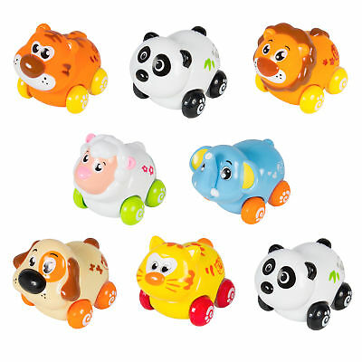 (Set of 8) Push and Go Friction Powered Animal Cars, Panda, Lion, Dog and More