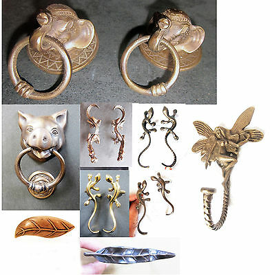 PIG shaped BRASS door knocker, LIZARD/GECKO door handles, LEAF drawer knob new
