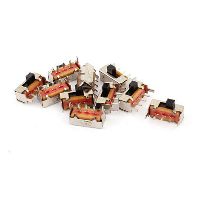 10 Pcs ON/OFF 2 Position 3 Poles SPDT Right Angle Panel Mount PCB Slide Switch