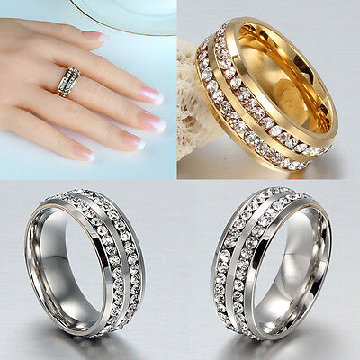 Sz8-12 Unisex CZ Stainless Steel Rings Men/Womens Wedding Band Black/Silver/Gold