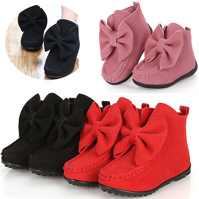 Children Girls Kids Bowknot Princess Soft Ankle Boots Slip on Bowknot Flat Shoes