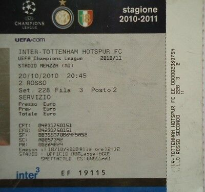 TICKET UEFA CL 2010/11 Inter Milan - Tottenham Hotspur