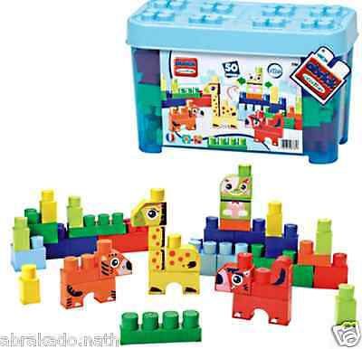 Boite Jeu Construction Animaux 50 Pieces Bleu 40 X 21 X 26 Cm Made In France