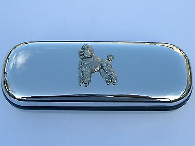 POODLE dog brand new chrome glasses case great gift! Christmas Birthdays