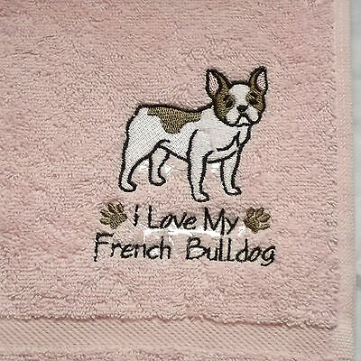 French Bulldog Embroidered Towels, Dog Gift, Dog Towel
