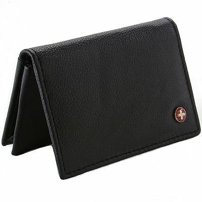 Alpine Swiss Expandable Business Card Case Genuine Leather Front Pocket Wallet