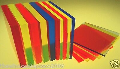 Perspex Acrylic Cast Fluorescent Coloured Sheet Blue Orange Yellow Green Red