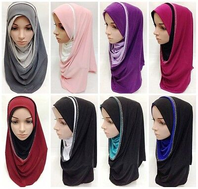 Pull On Ready Made One Piece Diamonte  Hijab Stretch Scarf 12 Colours