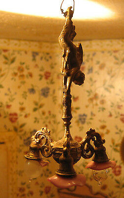 Antique German doll house miniature gilt metal cherub chandelier Pink tulip