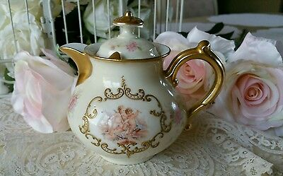 Rare Antique Hand Painted Gilded Marked AKCD French Limoges Cherubs Teapot