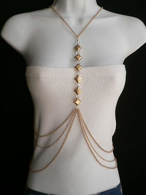 New Women Gold Square Moroccan Clear Beads Long Metal Body Chain Fashion Jewelry