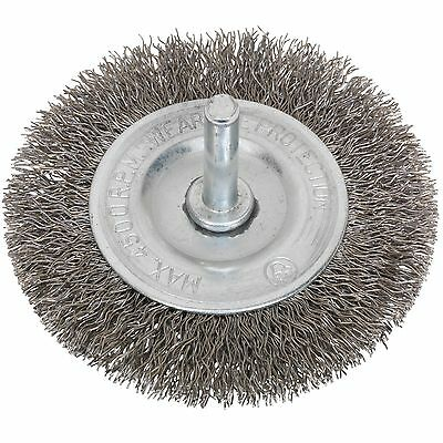 Sealey Stainless Steel Flat Wire Brush - 75mm With 6mm Shaft - SFBS75