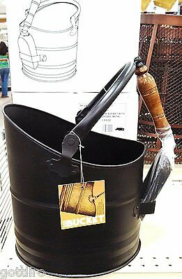 Ash Bucket with Shovel for Fireplace - Antique Black Steel