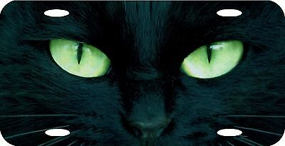 """Cat's Eyes Black Cat Green Eyes License Plate 12""""x6"""" NEW HIGH QUALITY METAL"""