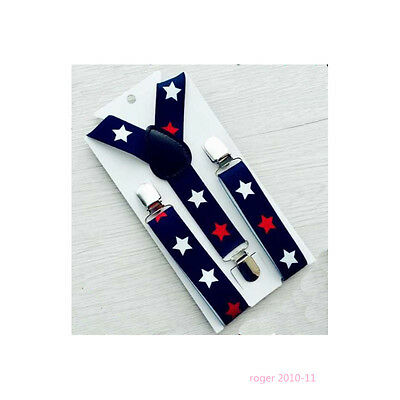 Boys Girls Children Y-Back Clip-on Adjustable Elastic Stars Suspenders GHH0047