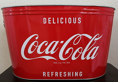 "Coca-cola Classic Oval Bucket Coke Large Party Drink Ice Bucket 16"" x 9"" x 9"""