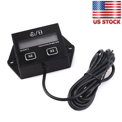 USA Digital Engine Tach Tachometer Hour Meter Inductive for Motor By Battery