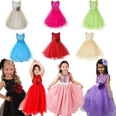 Flower Girl Kids Baby Wedding Bridesmaid Party Formal Sequin Ball Gown Dress