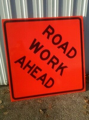 "Qty 4 nice used Road Work Ahead Fluorescent Vinyl Corrugated Road Sign 48"" X 48"""