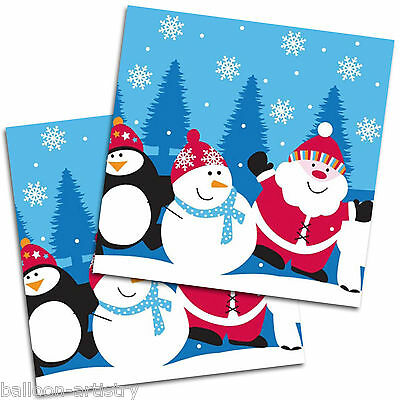 20 Snowy Christmas Santa And Friends Disposable 33cm Party Napkins