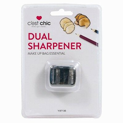 Cosmetics Dual Double Pencil Eyeliner Sharpener Two Size Clear Plastic Cover