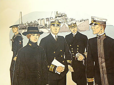 Druck 41 x 51 cm Uniforms of the UNITED STATES NAVY 1918 - 1919