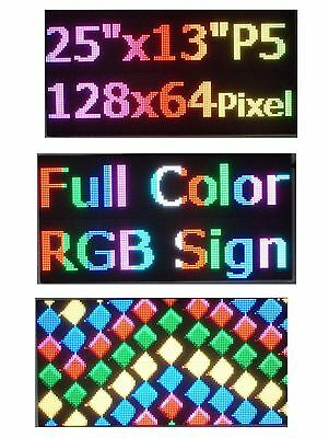 """25""""x 12"""" RGB Full Color P5 LED Sign Programmable Scrolling Message Display"""