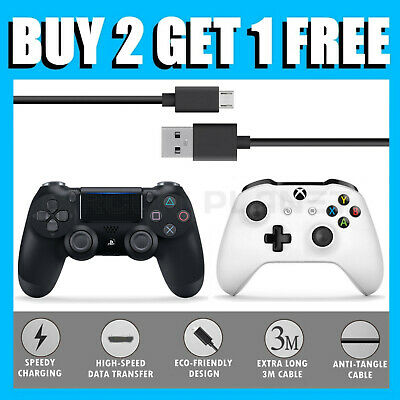 3M Long Fast USB Charging Charger + Play Cable Lead PS4 & XBOX ONE Controller