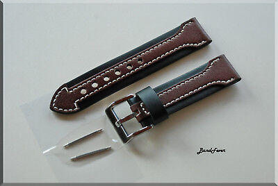22MM Black Brown Arrow Genuine CALF SOFT Leather Watch Band,Strap HEAVY Buckle