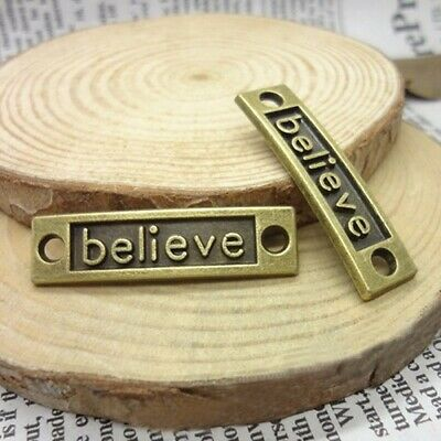 6Pcs/12Pcs 35mm Antique Bronze Letter Believe Connector Inspiration Charms DIY