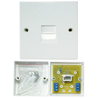 BT/PABX Extension Single Telephone Line Socket -Screw Terminals- Wall Plate 2/6A