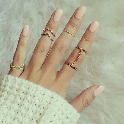 6pcs / Set Gold Rings Crystal Above Knuckle stacking Band Midi Ring New