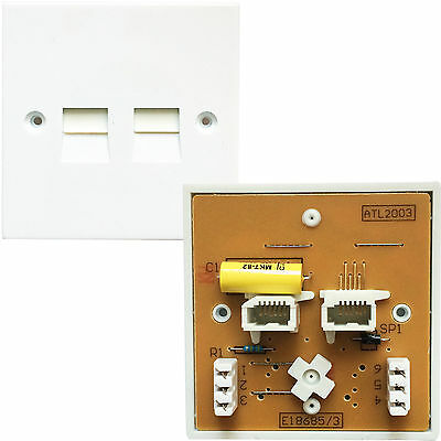 Dual Port BT/PABX Telephone Extension Socket -IDC Secondary-PSTN Wall Plate 5/3A