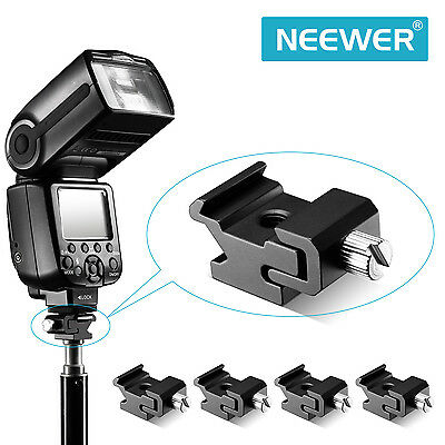 5X Black Metal Hot Shoe Flash Stand Adapter with 1/4-inch -20 Tripod Screw