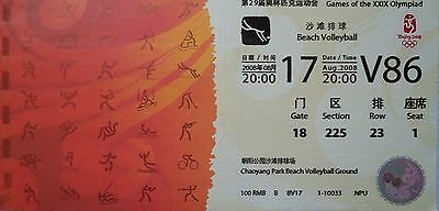 TICKET Olympia Beijing 2008 Beach Volleyball Women's Viertelfinale V86