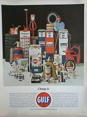 1963 Gulf Charge It Gasoline Gas Pumps Service Man Original Ad