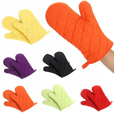 1 Pair Cotton Thick Double Kitchen Baking Cook Insulated Padded Oven Gloves Mitt