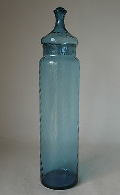Vintage Retro 60s BLUE ART GLASS 42cm TALL APOTHECARY JAR Rippled glass