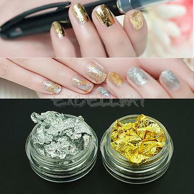12 pcs Nail Art Gold Silver Paillette Flake Chip Foil Acrylic UV Gel Paper Decor