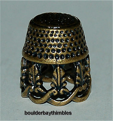 RUSSIAN Bronze-Brass OPEN BRAID & LEAVES Thimble NEW