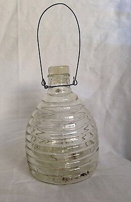 Vintage Glass Wasp Catcher Mold-blown Wire Handle