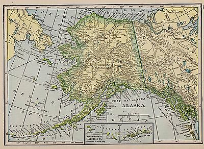 1909 Antique ALASKA Map Vintage Map of Alaska Gallery Wall Art  smap 2245