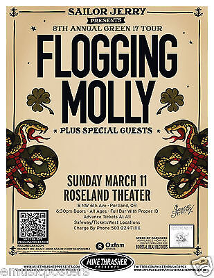 """FLOGGING MOLLY 2012 """"8TH ANNUAL GREEN 17 TOUR"""" CONCERT TOUR POSTER - Celtic Punk"""