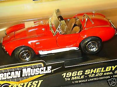10 Fastest, ERTL 1/18, 1966 SHELBY COBRA, Red, NEW