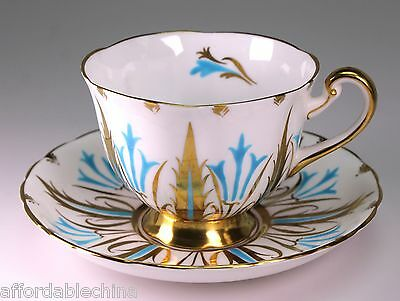 Royal Chelsea Turquoise and Gold Trim Cup and Saucer